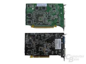 ATi Radeon X600 XT und ATi (Sapphire) Radeon 9600 XT - Rückseite