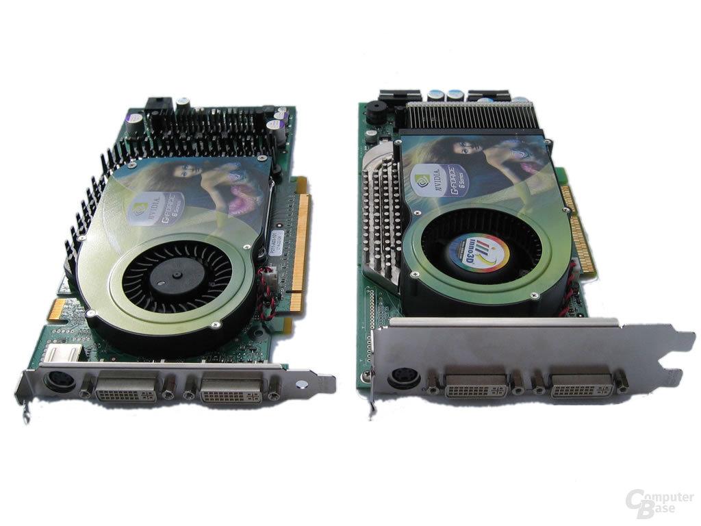 GeForce 6800 Ultra (AGP) rechts - links GeForce 6800 GT (PEG)