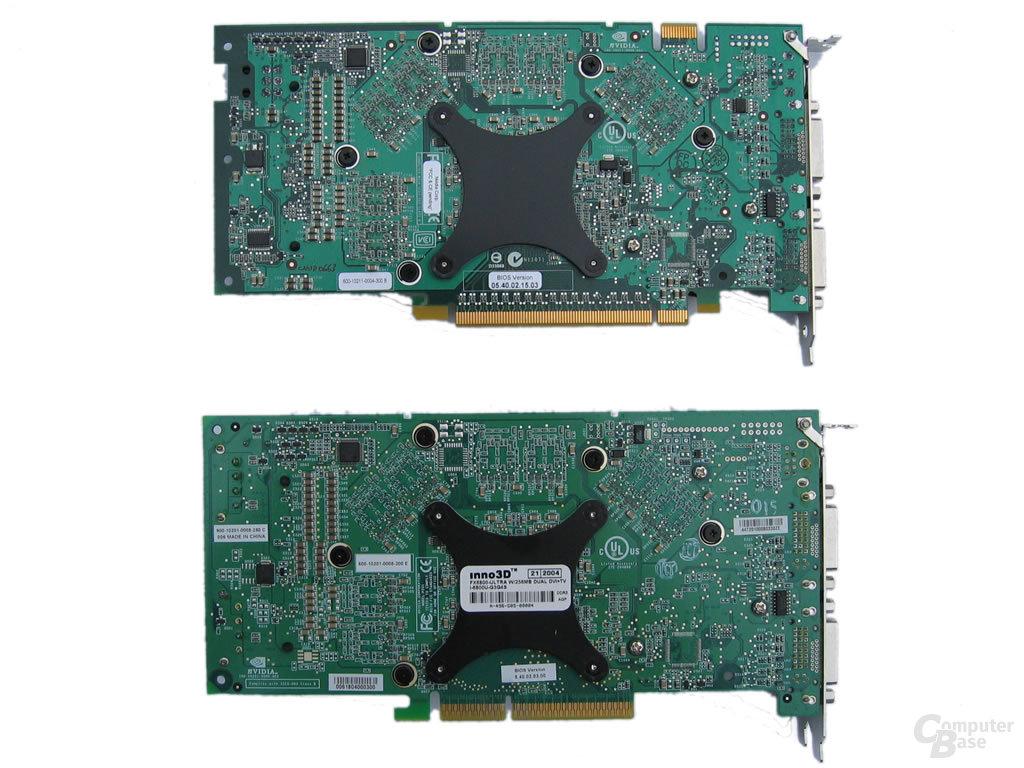 Rückseiten - GeForce 6800 Ultra (AGP) unten - oben GeForce 6800 GT (PEG)