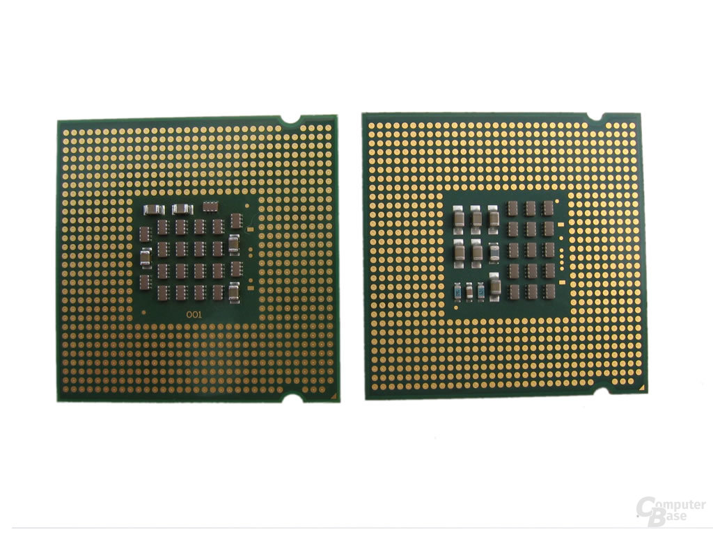 Sockel 775 CPUs - Links Pentium 4, Rechts Pentium 4 Extreme