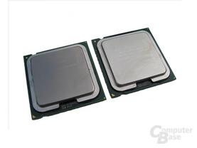 Sockel 775 CPUs - Links Pentium 4, Rechts Pentium 4 Extreme von oben