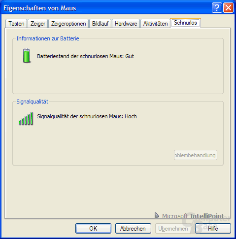 Batteriestand und Signalqualität