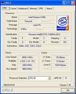Eigenschaften vom Pentium 4 560 (Prescott, 3,6 GHz)