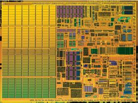 "Pentium M ""Banias""-Kern (korrektes Größenverhältnis zum Dothan)"