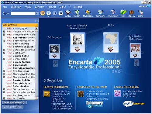 Encarta 2005 (Professional): Hauptseite