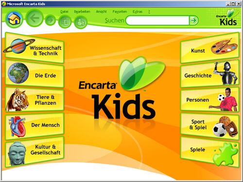 Encarta Kids: Hauptseite