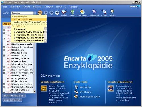 Encarta 2005 (Standard): Hauptseite