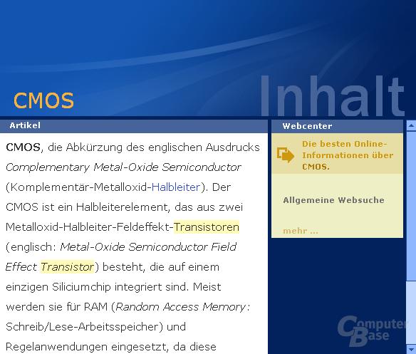 "Inhaltsvergleich (""CMOS""): Encarta"