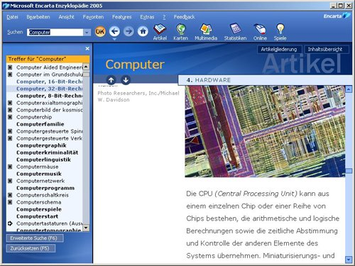 Encarta 2005 (Standard): Artikelansicht