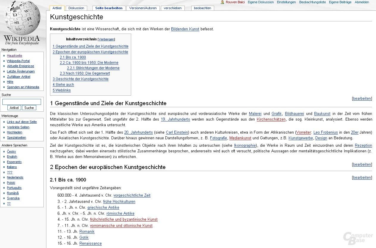 """Inhaltsvergleich (""""Kunstgeschichte""""): Wikipedia"""