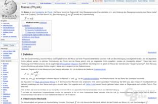 """Inhaltsvergleich (""""Masse""""): Wikipedia"""