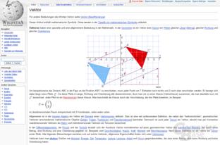 "Inhaltsvergleich (""Vektor""): Wikipedia"