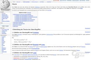 """Inhaltsvergleich (""""Säure""""): Wikipedia"""