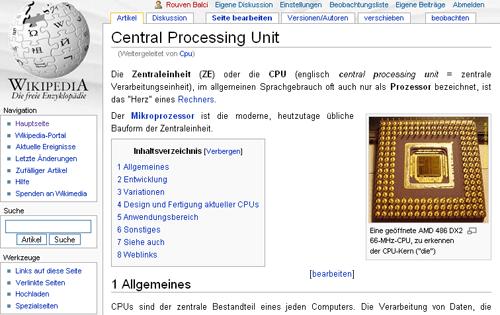 Wikipedia: Artikelansicht