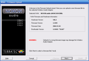 Noxon Audio Manager - Firmware Upload