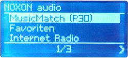 Noxon Audio - Display - Allgemeine Auswahl zwischen Internet-Radio, Favoriten und PC-Streaming - Deutsch