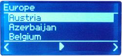 Noxon Audio - Display - Internet-Radio nach Ländern sortiert