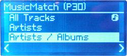 Noxon Audio - Display - Titelauswahl beim PC-Stream