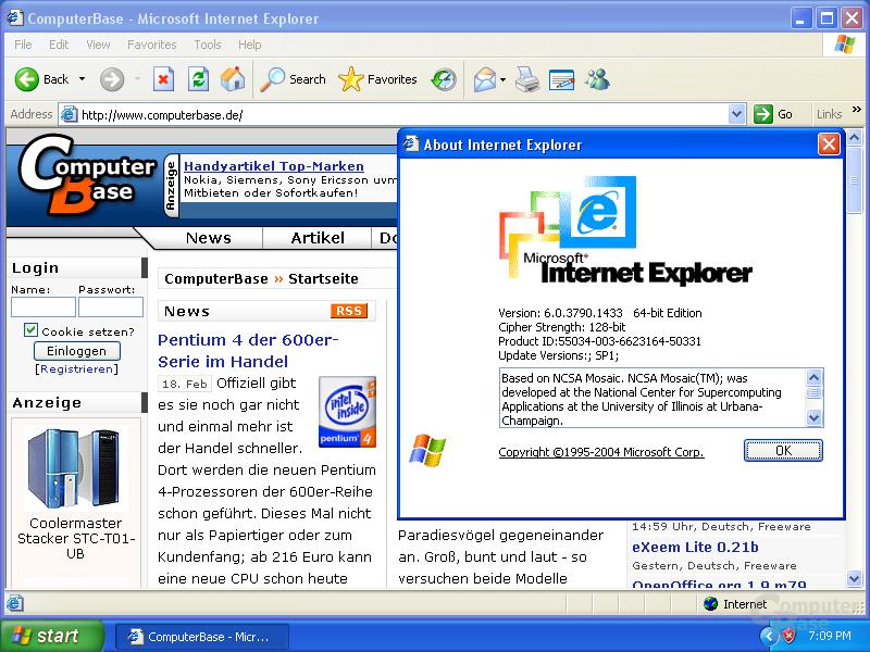 Windows XP x64 - der Internet Explorer 64-Bit ist nicht Standard