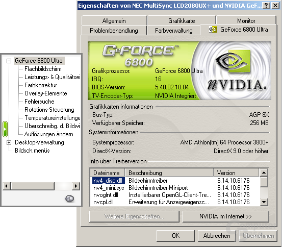Treibermenü des 61.76 für Windows XP