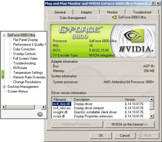 Treibermenü des 61.76 für Windows XP-64