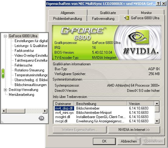 Treibermenü des 66.93 für Windows XP