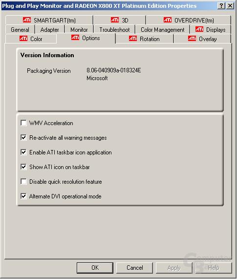 Treibermenü des Catalyst Beta 4 für Windows XP-64