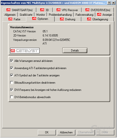 Treibermenü des Catalyst 5.1 für Windows XP
