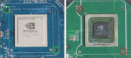 Bohrungen (grün: 3-mm-Bohrungen auf FX5900 Ultra, rot: 2-mm-Bohrungen auf 6800 GT)