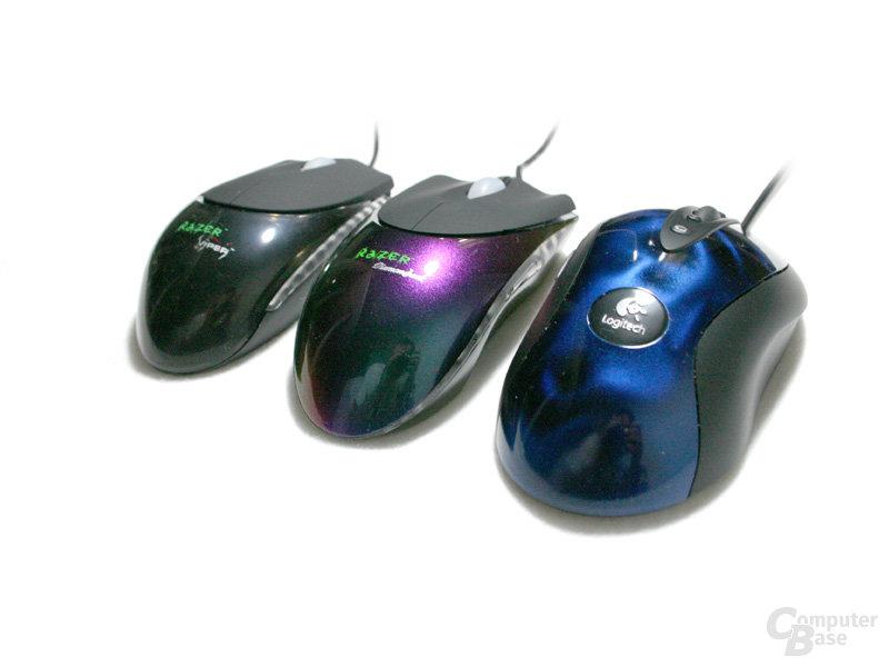 Razer Viper, Razer Diamondback und Logitech MX510 von der Seite #2