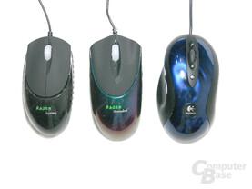 Razer Viper, Razer Diamondback und Logitech MX510 von oben