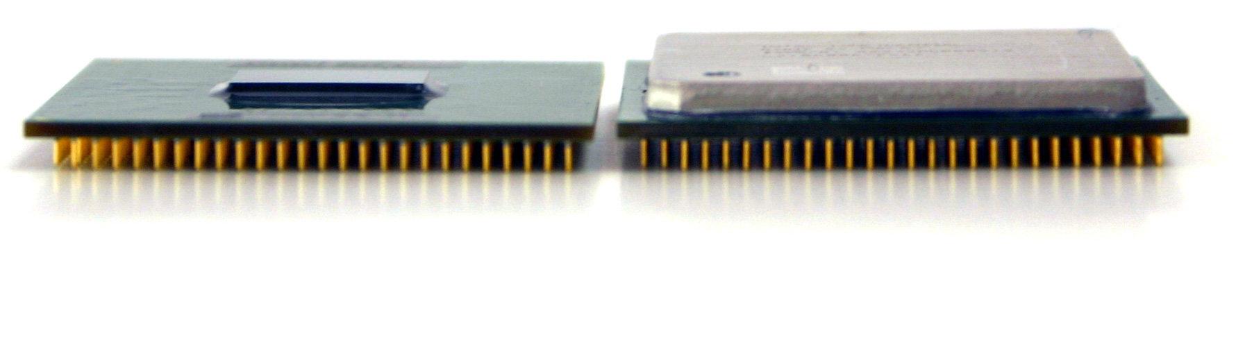 Aufgrund des fehlenden Heatspreaders ist der Pentium M falcher