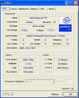 Pentium M bei 2,6 GHz
