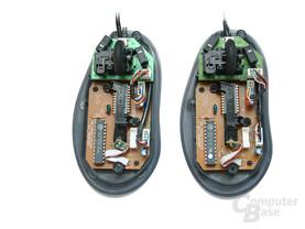 Innnenleben MX518 (rechts) und MX510 (links)