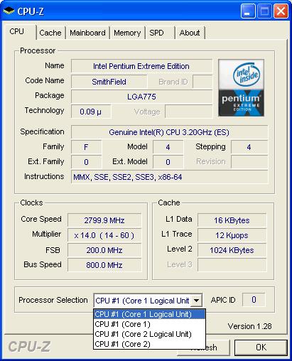 CPU-Z - i955X mit vier aktiven Threads