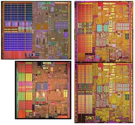 Prescott-2M- (oben links), Prescott- (unten links) und Smithfield-Core (rechts) verdeutlichen, dass es sich beim Pentium D und Pentium Extreme Edition um die Kombination zweier Prescott-Kerne handelt.