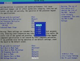 Bios - MCH Voltage Override Selections