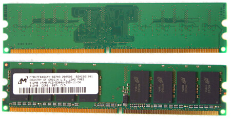 Single Sided 512 MB Micron DDR2-667