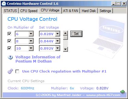 Centrino Hardware Control - CPU Voltage