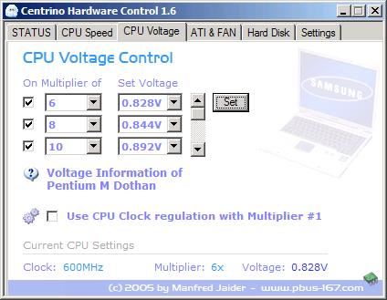 Centrino Hardware Control - CPU Voltage