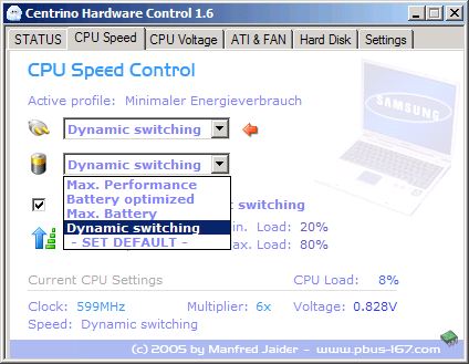 Centrino Hardware Control - CPU Speed