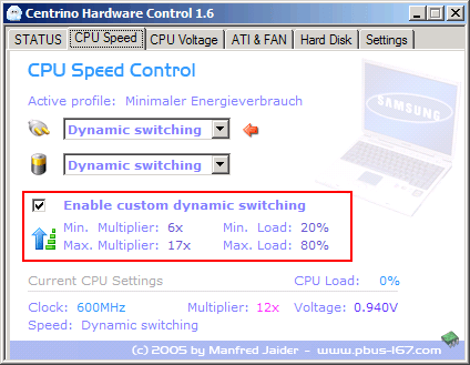 Centrino Hardware Control - Dynamic Switching