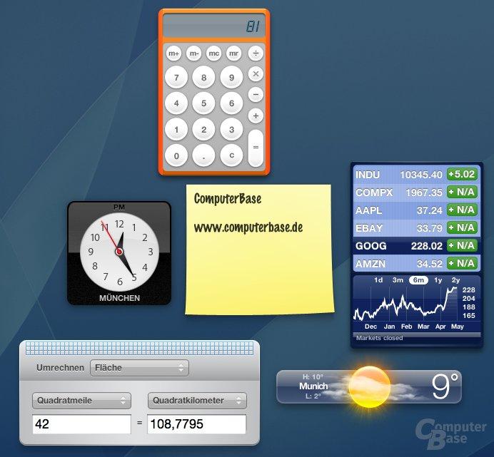 "Apple Mac OS ""Tiger"": Dashboard"