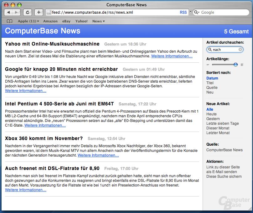 "Apple Mac OS ""Tiger"": Safari RSS"