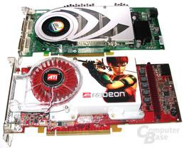 Größenvergleich: Radeon X1800 XT und GeForce 7800 GTX
