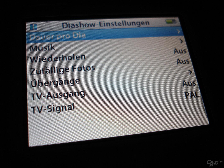 iPod video - Diashoweinstellungen