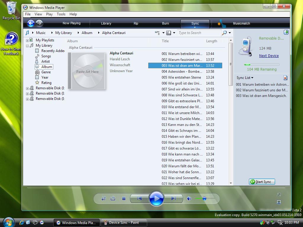 Windows Media Player 11 Device Sync