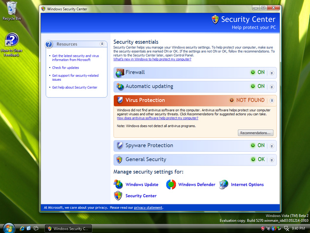 Windows Security Center