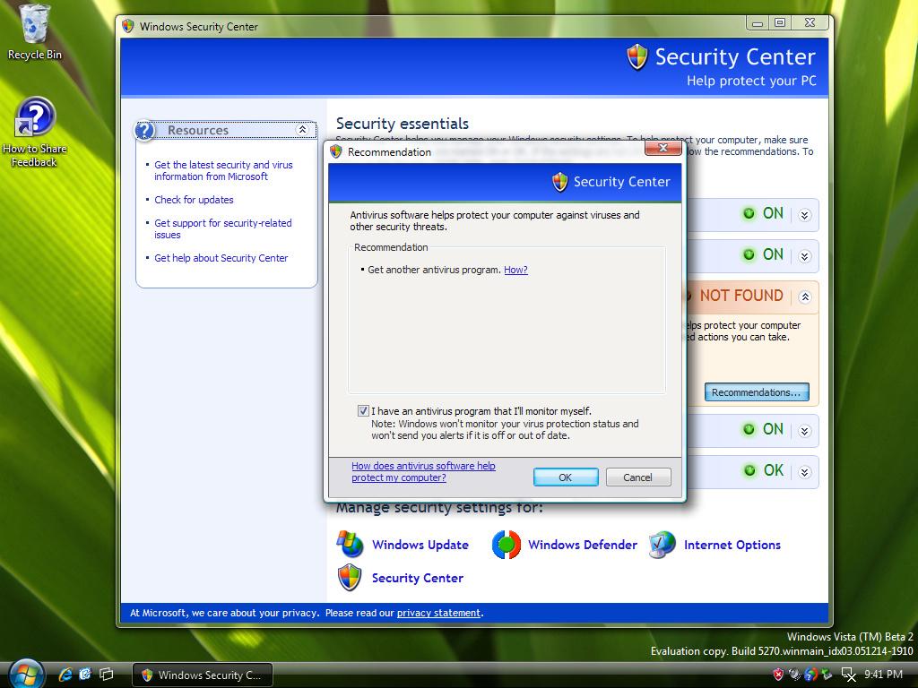 Windows Security Center