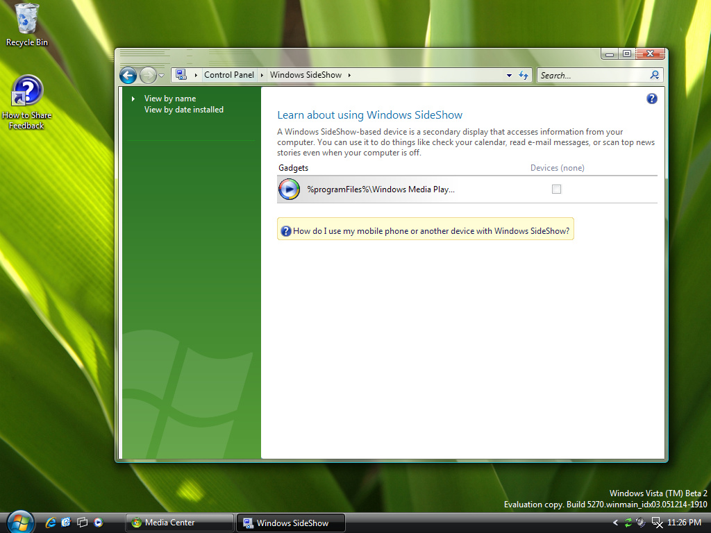 Control Panel Windows SideShow